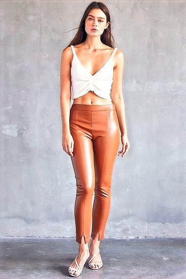 Cigarette Side Zip Faux Leather Pants