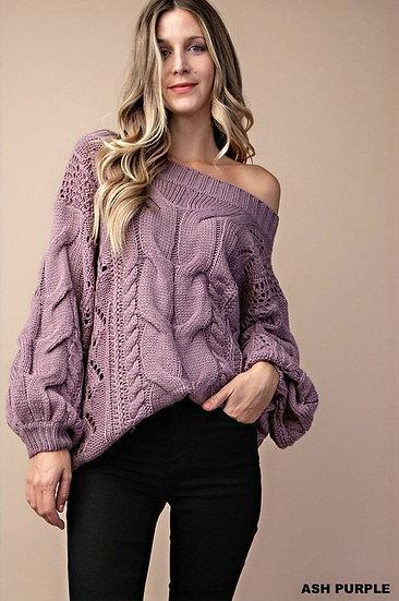 Off Shoulder Knit Sweater