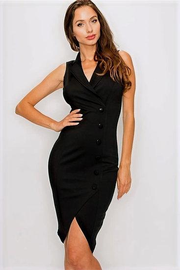 Black Button Tulip Dress