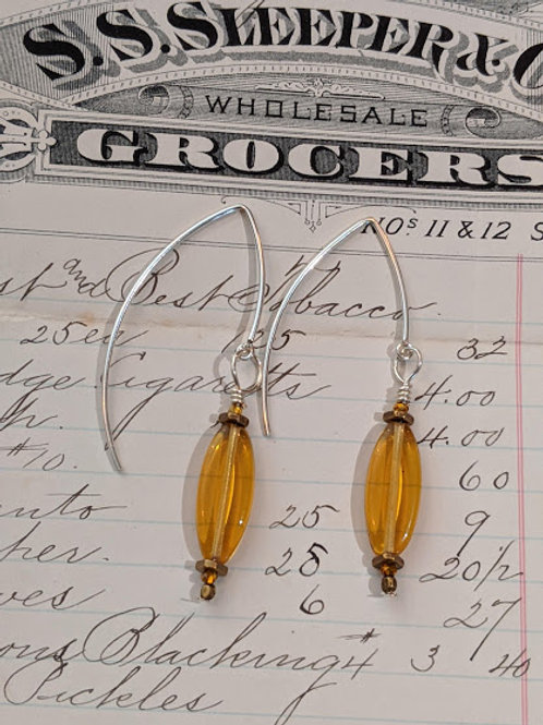 Czech glass oval earring