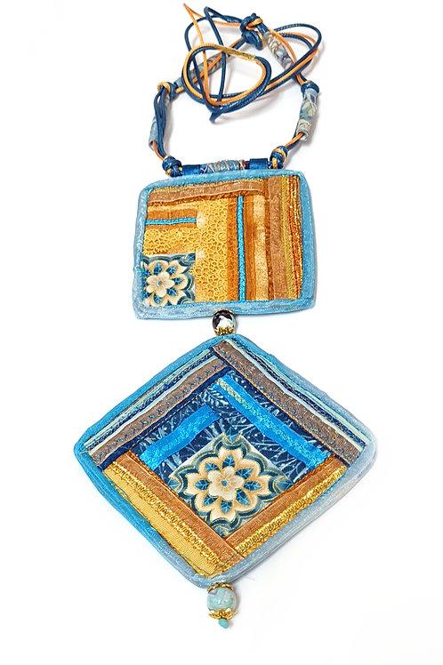 תכשיטים מעוצבים -שרשראות  קווילט טורקיז-2