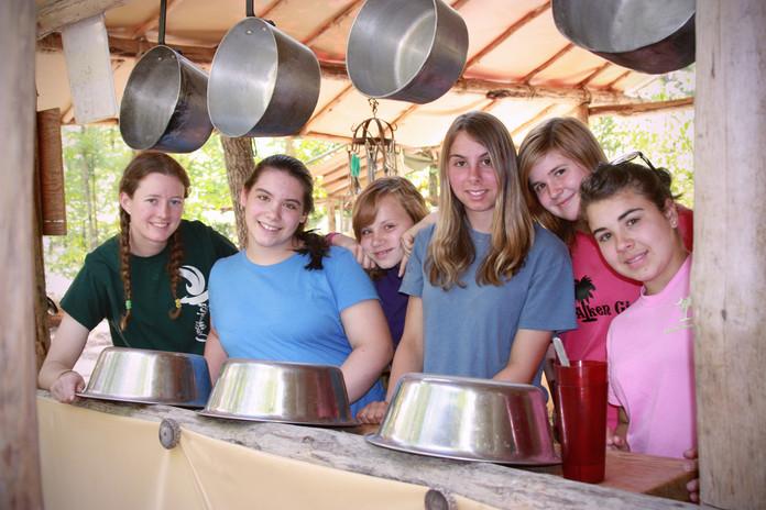 Camp Duncan girls in kitchen