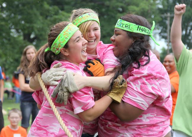 Camp Duncan girls celebrating