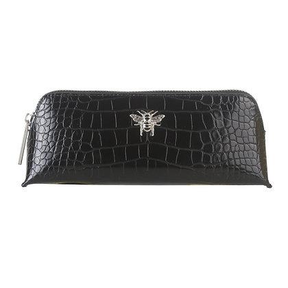 Black Faux Crox Make Up Bag