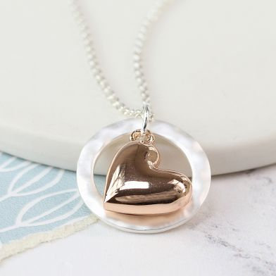 Rose and Silver Heart Circle Drop necklace