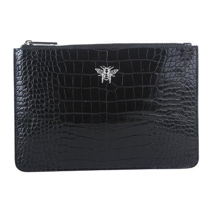 Black Faux Croc Clutch Bag
