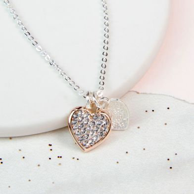 Gold and Silver Double Crystal Heart Necklace