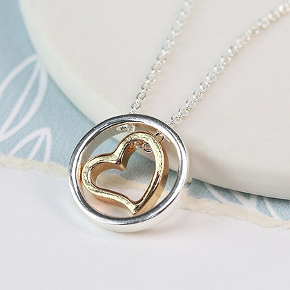 Circle Two Tone Heart Necklace