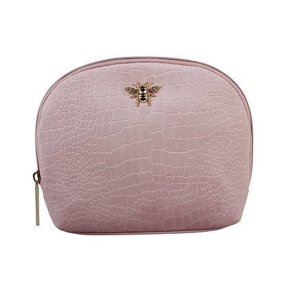 Pink velvet embossed make up bag