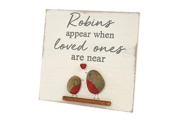 robins appear pebble frame