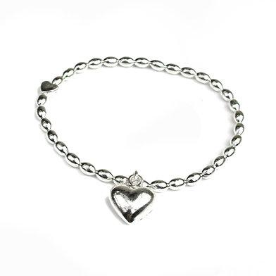 Silver Puff Heart Bracelet