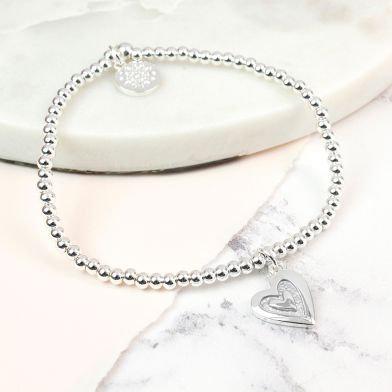 Grey Enamal Heart Bracelet