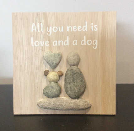 Love and Dog Pebble Frame