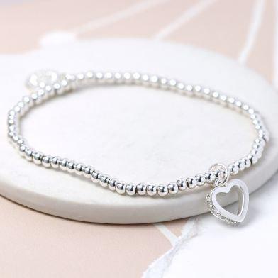 Crystal Edged Heart Bracelet