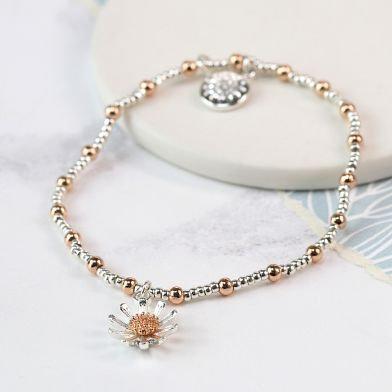 Silver and Rose Daisy Bracelet
