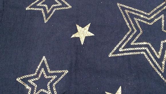Navy Gold Star Scarve