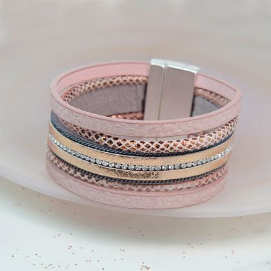 Gold and Pink Leather Crystal Bracelet