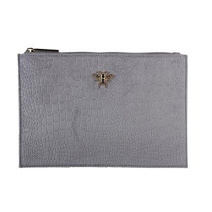 Grey Velvet Clutch Bag