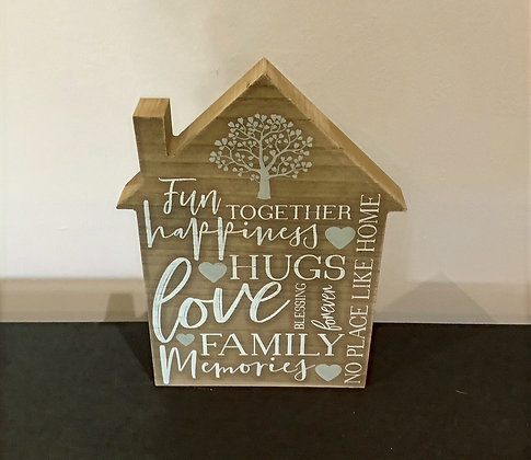 Large Wooden Family House Plaque