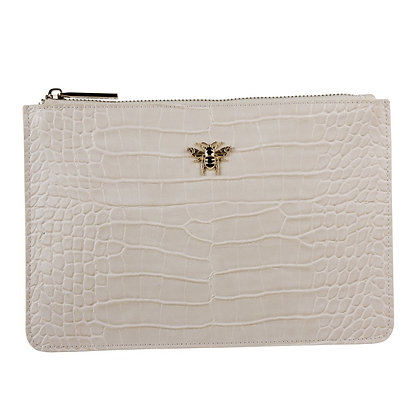 Cream Faux Croc Clutch Bag