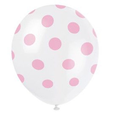 "Balloon Latex 12"" Dots Pink 6C"