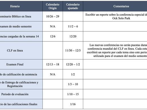 Actualizaciones sobre el calendario académico del semestre de otoño de 2020.