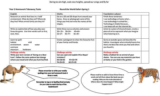 Year 2 Homework Takeaway Tasks Round the