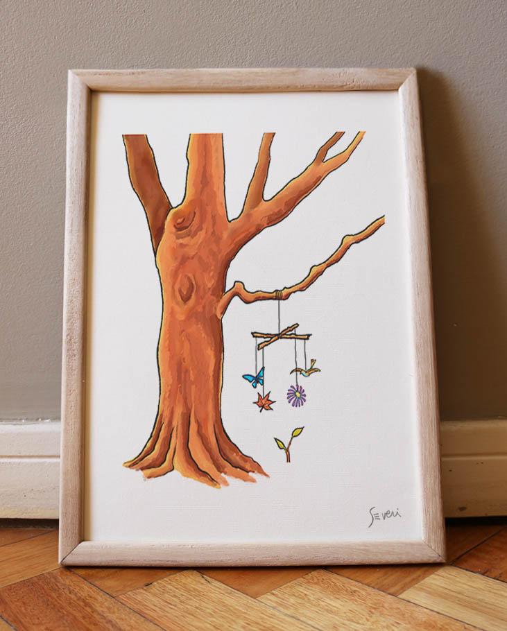 Móvil árbol A4