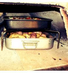 Elevador de bandejas para horno de leña