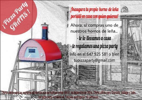 pizza party gratis por la compra de tu horno de leña