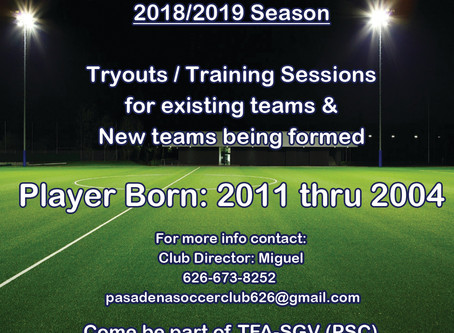 TFA-SGV (PSC) * 2018/2019 Season Tryouts