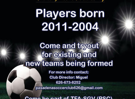 TFA-SGV (PSC) Tryouts Dates Announced