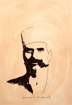 Arap Hüsnü, 2014, kağıt üzerine çini mürekkebi, 21 x 29 cm.