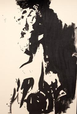 İpek , 2014, derici kağıdı üzerine akrilik boya, 50x33,5cm.