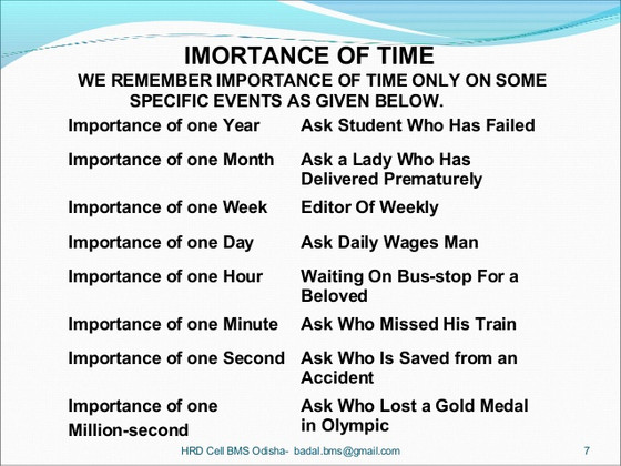 The Importance of Time