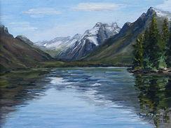 View up Lake MacDonald, Oil on Canvas Pa