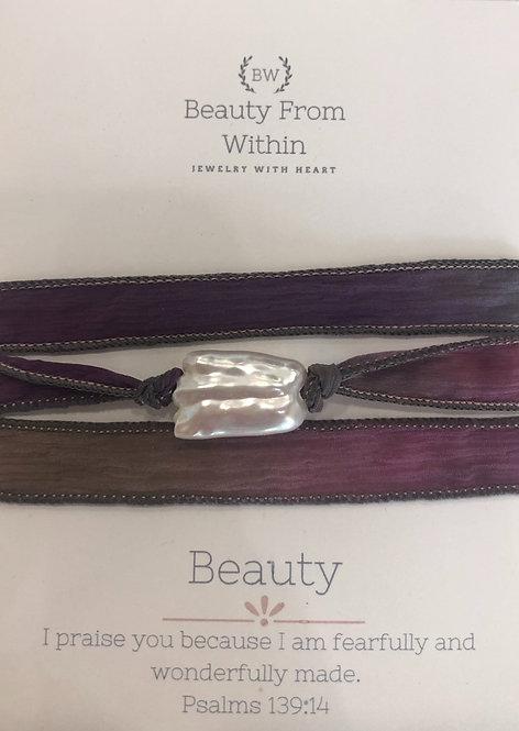 Beauty - Burgundy & Pearl Bracelet
