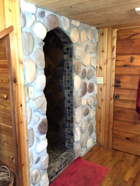 Walk-in Stone Cave Shower