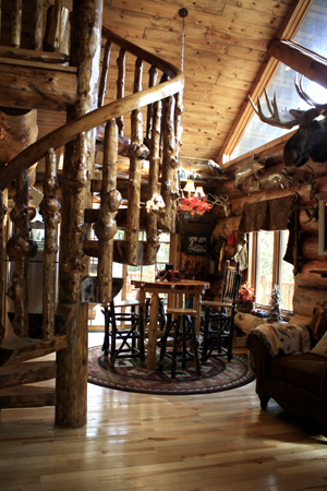 Handcrafted Spiral Log Staircase