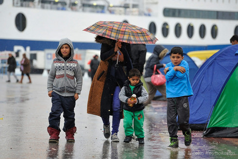 Refugees and migrants stranded at the Port of Piraeus