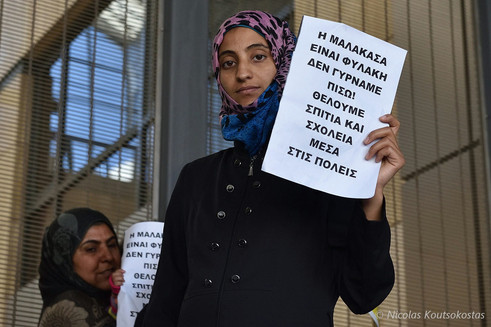 Refugees protest living conditions at Malakasa camp in Piraeus