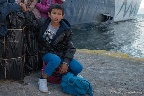 Asylum seekers arrive at the Port of Elefsis