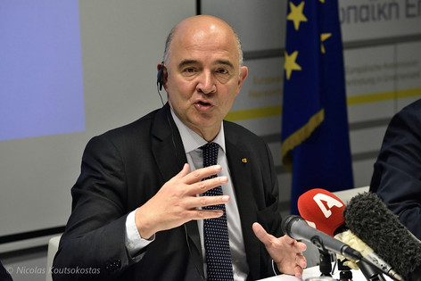 European Commissioner Pierre Moscovici in Athens