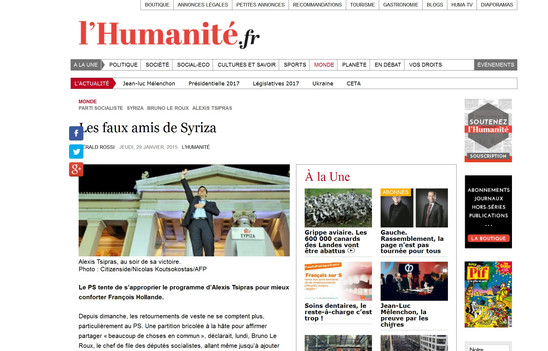 L' Humanite. 29 January 2015.