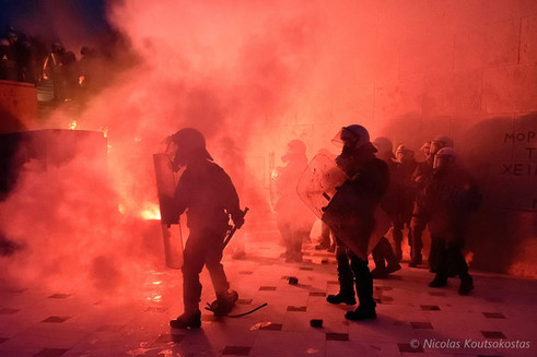 Protest against new austerity measures in Athens