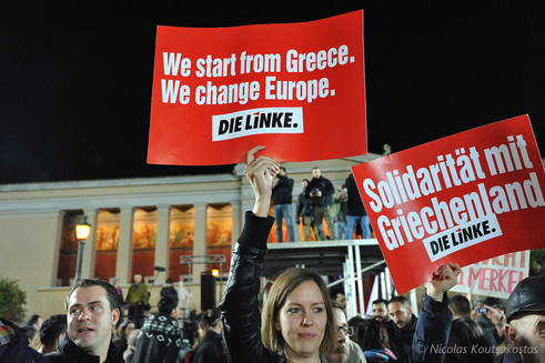 SYRIZA supporters celebrate election victory in Athens