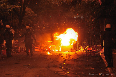 Protest against the visit of US president Barack Obama in Athens