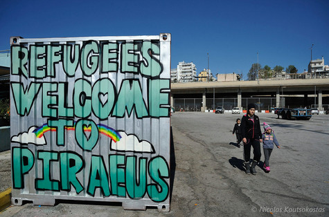 Refugees stranded at the Port of Piraeus
