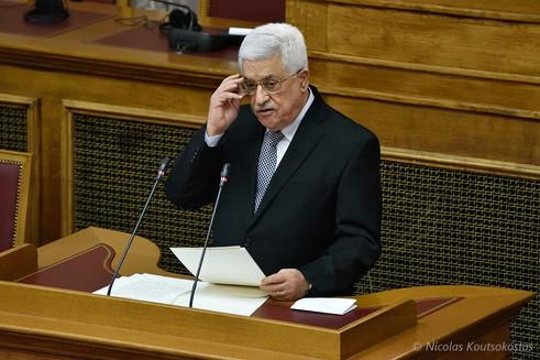 Palestinian President Mahmoud Abbas in Athens