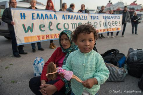 Asylum seekers arrive at the Port of Piraeus
